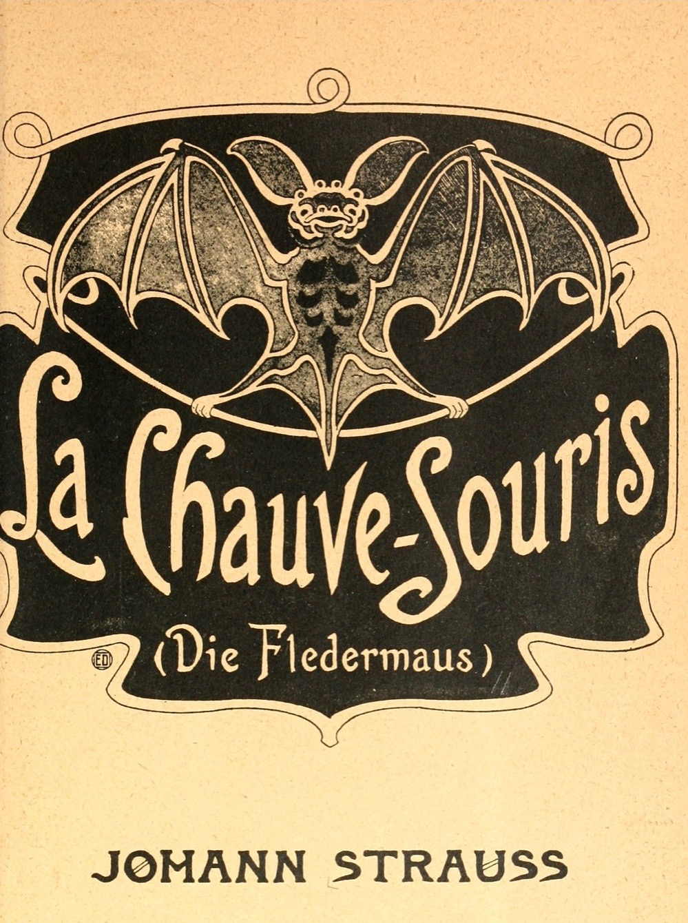 Title page of the opera Die Fledermaus. Artistic illustration of a bat with text La Chave Souris Die Fledermaus.