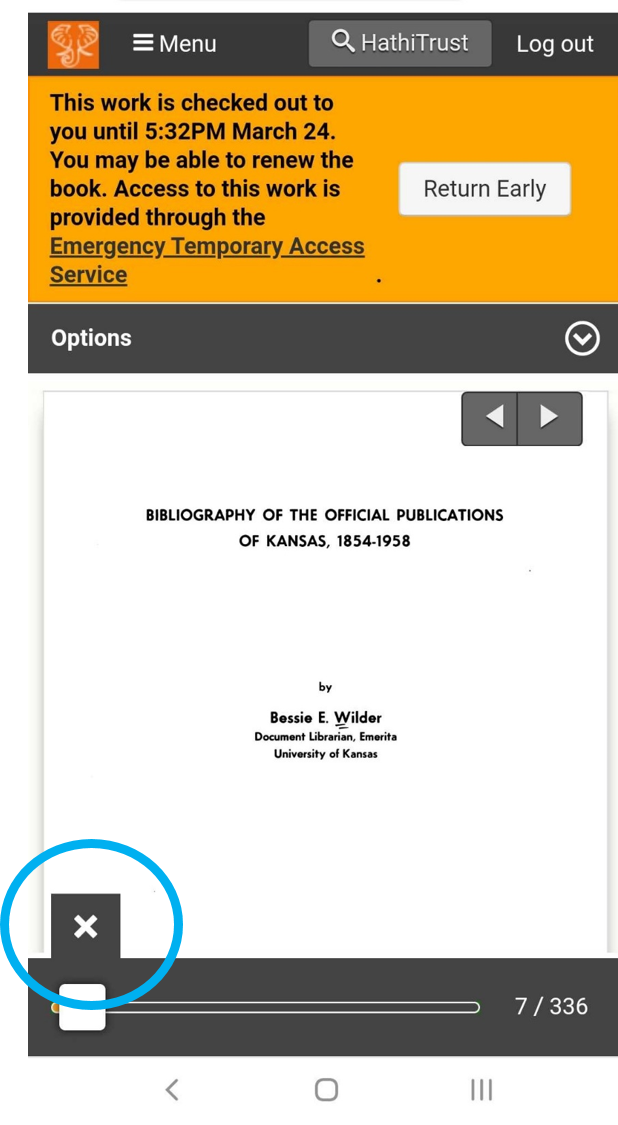 "The title page of the book, ""Bibliography of the official publications of Kansas,"" displays in the center of the page. A blue circle is drawn around the X in the bottom left corner, indicating where to tap."