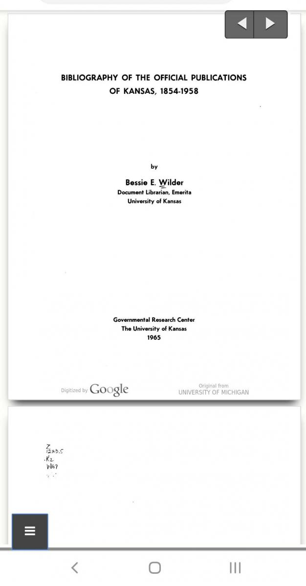 "Screenshot of the mobile website. The pages of the book, ""Bibliography of the Official Publications of Kansas,"" displayed in a clean interface."