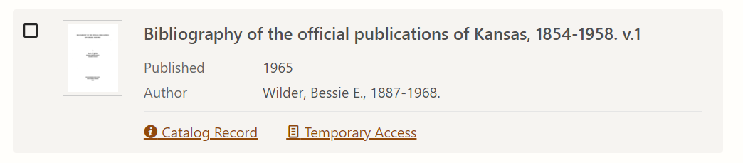 """Catalog Record"" and ""Temporary Access."""