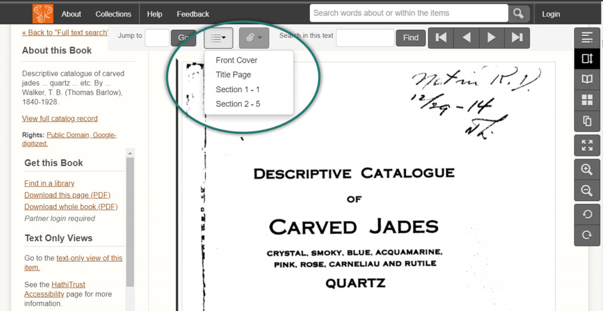 "Screenshot of the book ""Descriptive Catalogue of Carved Jades"" in the old site. The dropdown menu for the Jump To Section is barely distinguishable against the underlying page."
