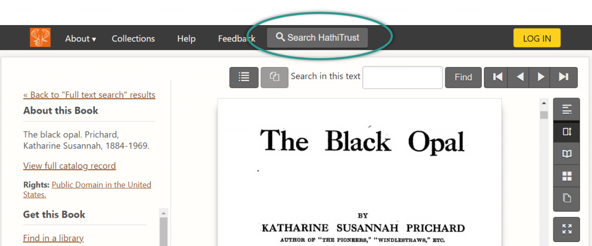 "Screenshot of a book ""The Black Opal"" in the updated site, which features a ""Search HathiTrust"" button in the header menu."