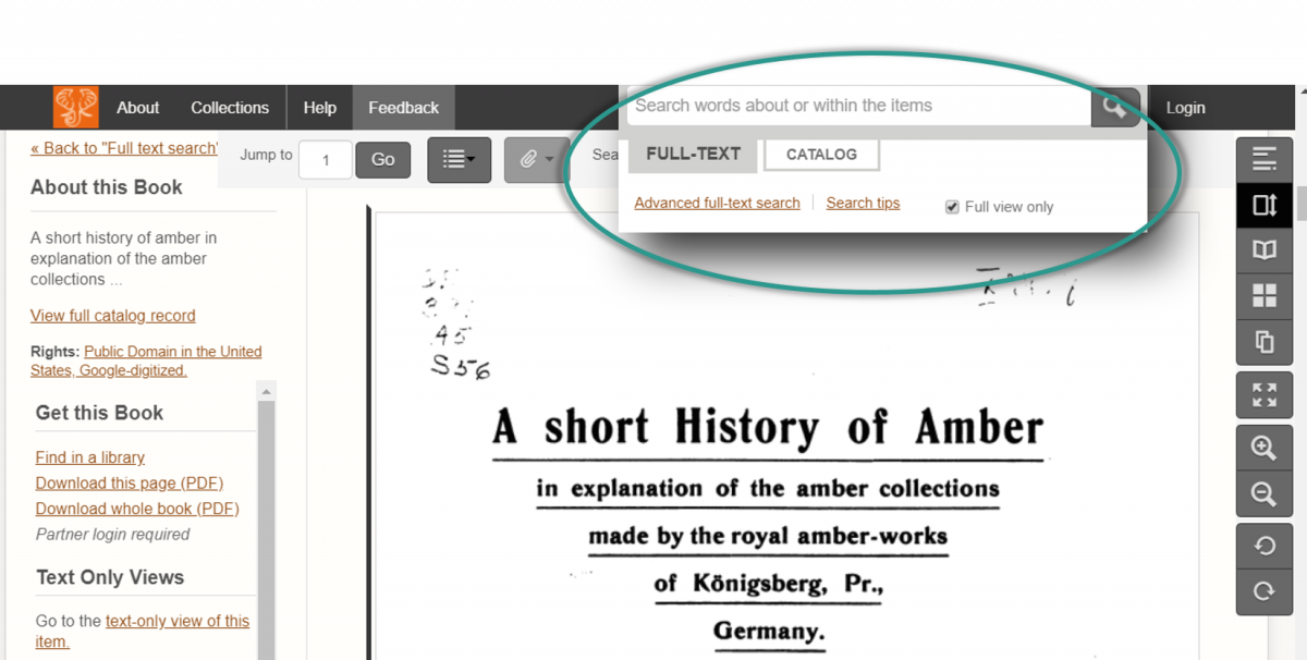 "Screenshot of a book ""A Short History of Amber"" in the previous site. When a user clicks into the search field, a quasi-popup appears below the field with more functions that a user can select."