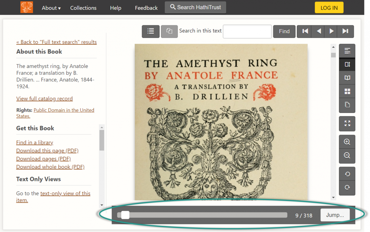 "Screenshot of the book ""The Amethyst Ring"" by Anatole France in the updated site. New page features include a prominent scroll bar, a page number that indicates which page you're on and how many total pages are in the book, and a button that reads ""Jump""."