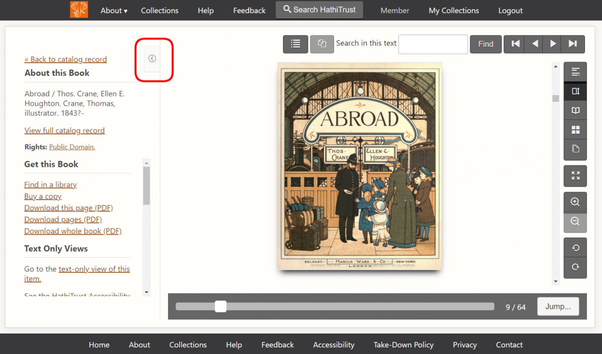 Screenshot of the title page from the book Abroad, by Thomas Crane and illustrated by Ellen Houghton, in the HathiTrust book display interface. The title page is a beautifully illustrated image of a train station. A mother and her five young children, dressed in Victorian style, are talking to a ticketing agent. Their baggage waits to the side, and two trains are depicted in the background. The book display is the default display, with a red box around the sidebar collapse button.