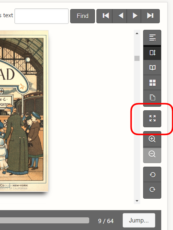 Screenshot of the right side of the book display. A red box is around the full-screen button.